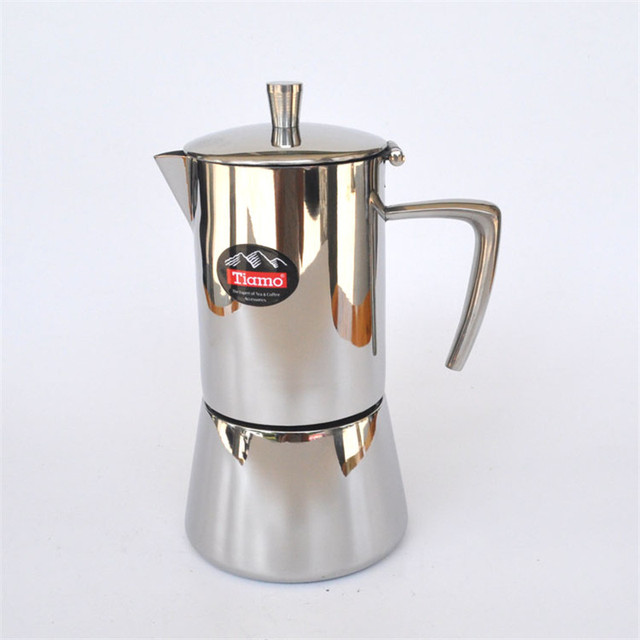Stainless Steel Moka Pot 4 Cups Filter Cartridge Aluminum Material Mocha Coffee