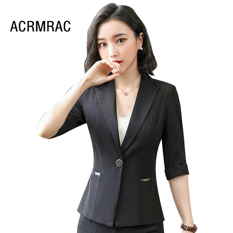Women Suits Slim Summer Black Half Sleeve Jacket Ankle-Length Pants 2-piece Set OL Formal Business Women Pants Suits Woman Set S