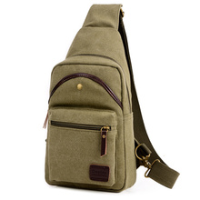 New Casual Men Chest Pack Retro Canvas Bags Multifunctional Small Messenger Bag Fashion Shoulder Crossbody Unisex Sling Bag