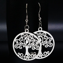 2017 Silver Color Stainless Steel Tree of Life Drop Earrings for Women Round Earrings For Women Jewelry aretes de mujer E612144