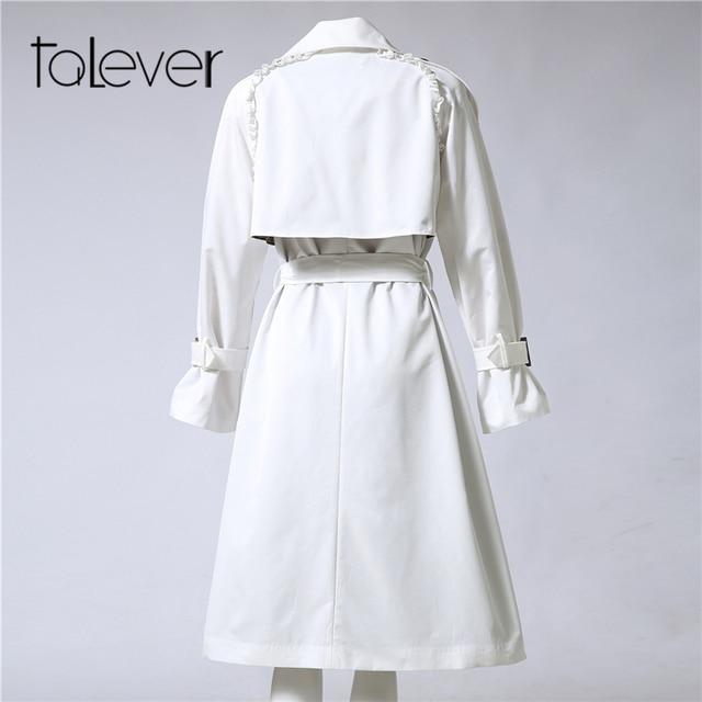 Autumn Winter Adjustable Waist Slim Solid Trench Coat for Women 5
