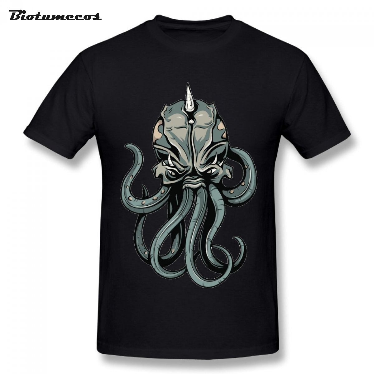 New Arrival The Horned Octopus Printed T Shirt Man Fun T Shirt 100% Cotton Short Sleeve Tees Adult Oversize Clothes Top MTDW103