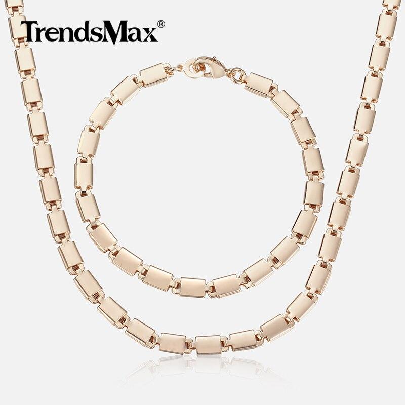 585 Rose Gold Jewelry Set For Women Girl Light Marina Stick Chain Bracelet  Necklace Set Woman Jewelry Gift Dropshipping 5mm CS08