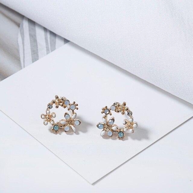 Cute Korean Personality Small Flower Stud Earrings  3