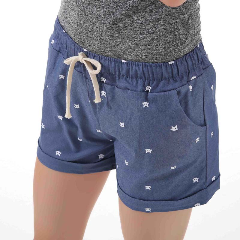 DANJEANER-2018-summer-women-s-home-casual-elastic-waist-cotton-shorts-printed-cat-pumping-self-cultivation