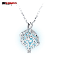 LZESHINE Silver Glowing In The Dark Pendant Necklace For Women New Cube Hollow Wishing Tree Necklace