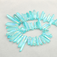 Blue Mystic Titanium Quartz Crystal Top Drilled Point Pendant Beads Rock Raw Crystal Pillar Graduated Briolettes