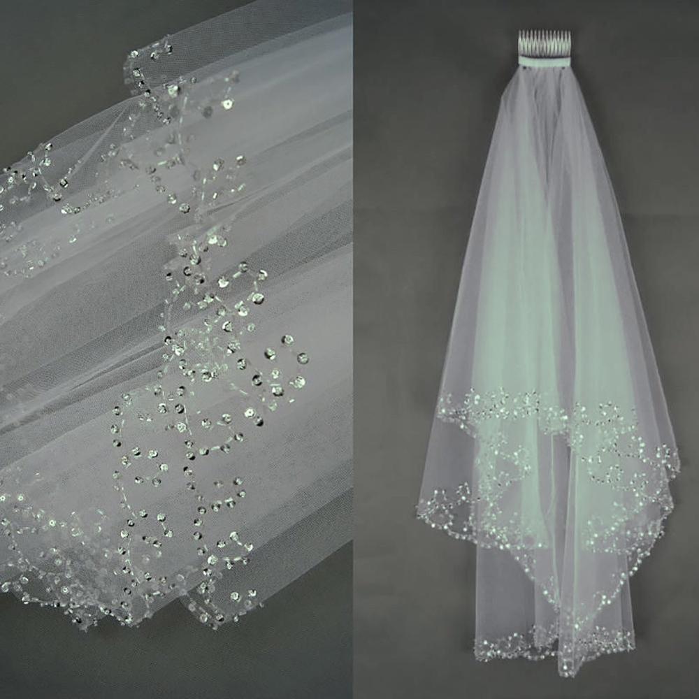 Короткая свадебная фата белого или цвета слоновой кости, с кристаллами по краю, с расческой, 2 цвета, фата невесты с бисером
