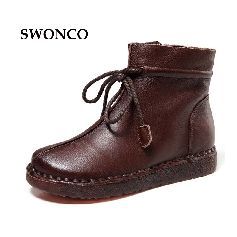SWONCO Women Winter Boots Genuine Leather Handmade Ladies Boot Ankle Boots For Women Autumn Winter Lace Up Woman Retro Boot women ankle boots handmade genuine leather woman boots autumn winter round toe soft comfotable retro boot shoes female footwear