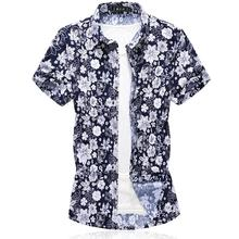 Hawaiian Style Shirt Men Blouse Floral Mens Shirts Flower Men's Clothing Slim fit Navy Summer Camisa masculina M-7XL blouse men slim fit men s shirts hawaiian style beach leisure summer camisa masculina new model shirts mens clothing
