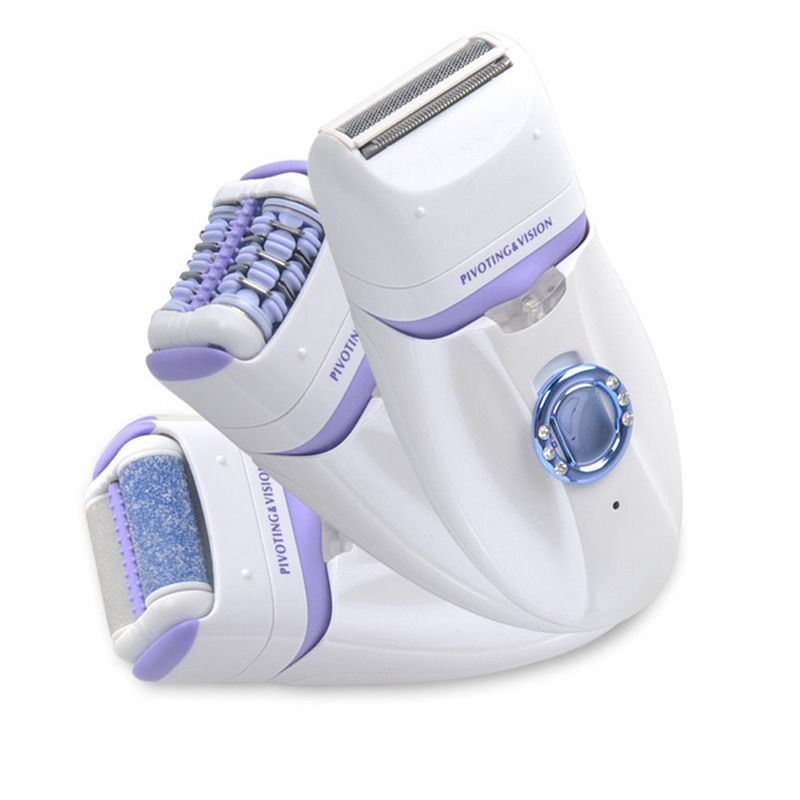 3 in 1 Epilator + Shaver + Foot Care Tool Electric Hair Removal Pedicure Rechargeable Callous Remove Dead Skin Machine