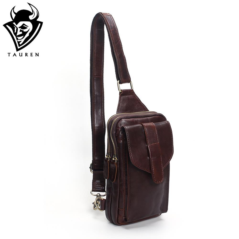 Chest Bag 2018 Fashion Genuine Leather Crossbody Bags Men Casual Messenger Bag Small Brand Designer Male Shoulder Bag