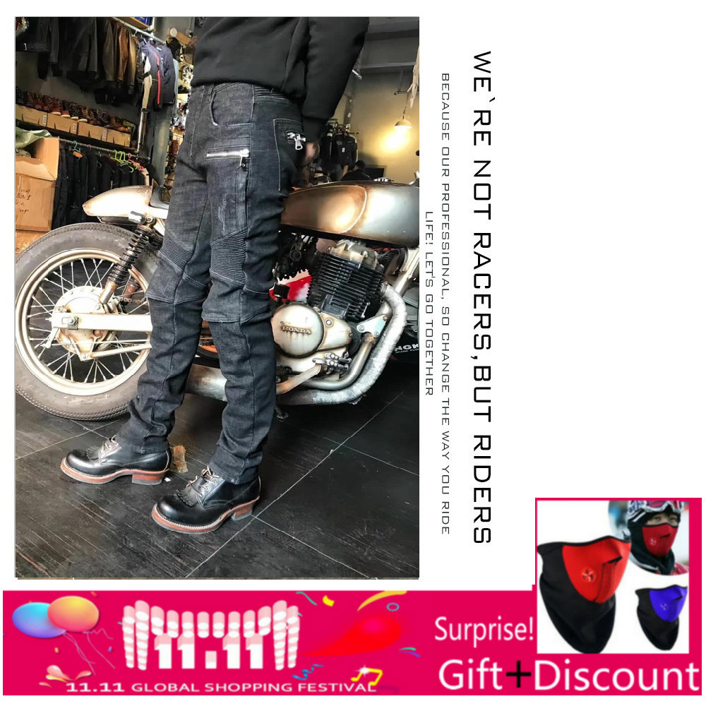 2018 new winter warm Uglybros jeans men's motorcycle pants outdoor riding protective pants retro motorcycle jeans SIZE:28-40 2017 new fashion men slim fit stretch biker jeans patchwork elastic white jeans pants for motorcycle famous brand size 28 to 38