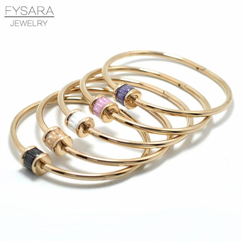 FYSARA Boho Jewlery Natural Stone Round Colorful Austrian Crystal Bangle & Bracelet for Women Love Screw Bangle Indian Jewelry