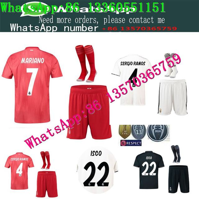 95a72010855 19 BENZEMA KROOS Soccer Shirts ISCO BALE MARCELO Football Shirts Real  Madrid SERGIO RAMOS Champions League patch + socks