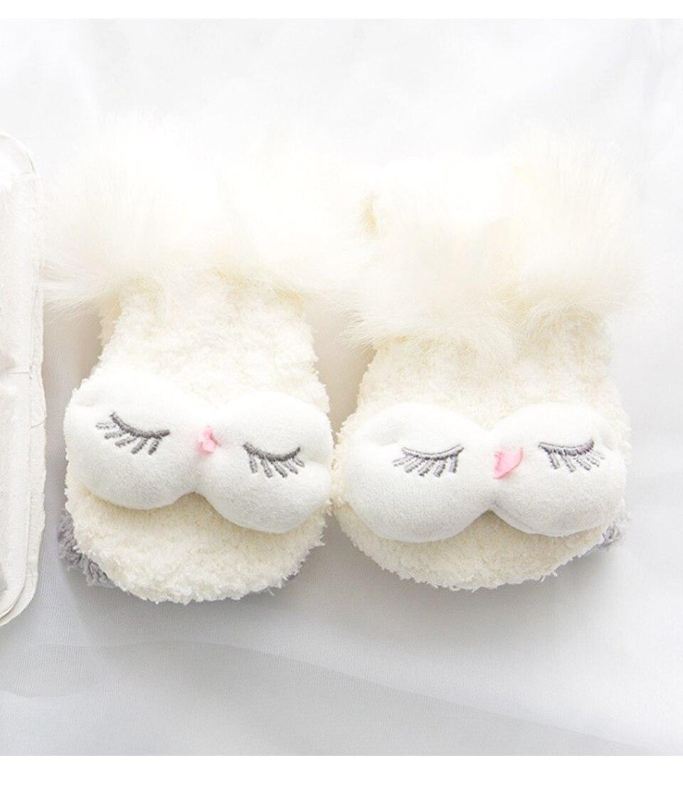 Autumn And Winter Coral Velvet Sleep Sock Female Tube Thickening Warm Round Big Eyes Home Non-Slip Towel Cute Girl Floor Socks (12)