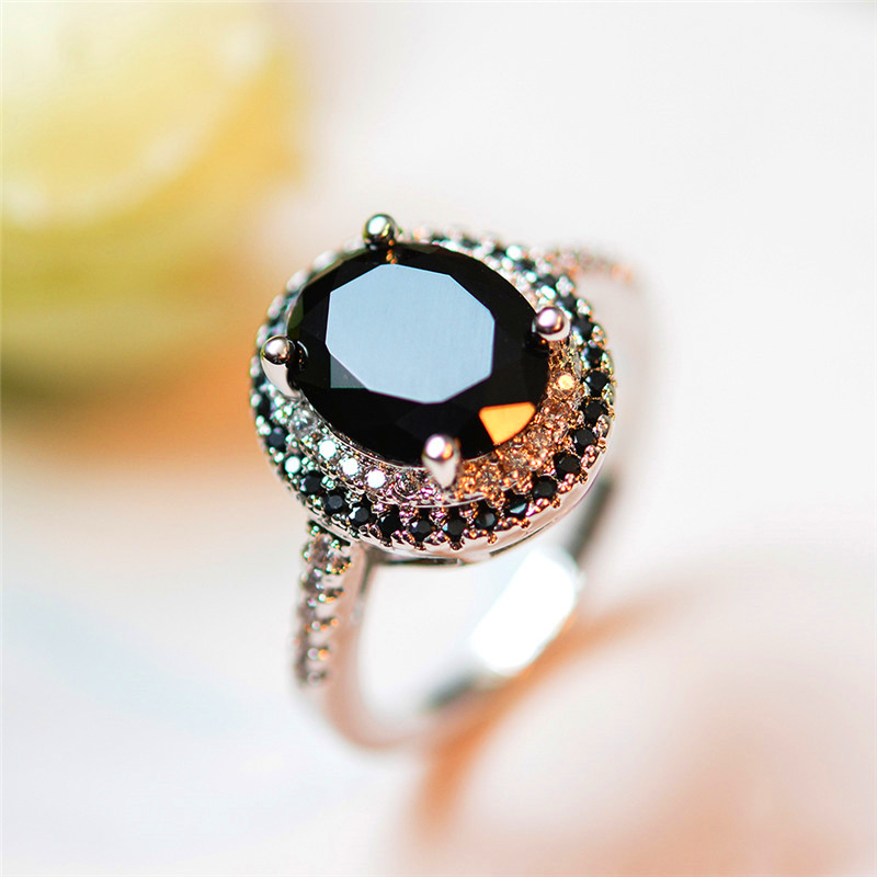 Crystal Female Big Black Stone Ring Luxury Silver Color Solitaire Engagement Ring Vintage Wedding Rings For Women