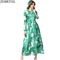 Brand Fashion Banana Leaves Print Long Maxi Dress 2017 Autumn Fashion Women Long Sleeve O Neck