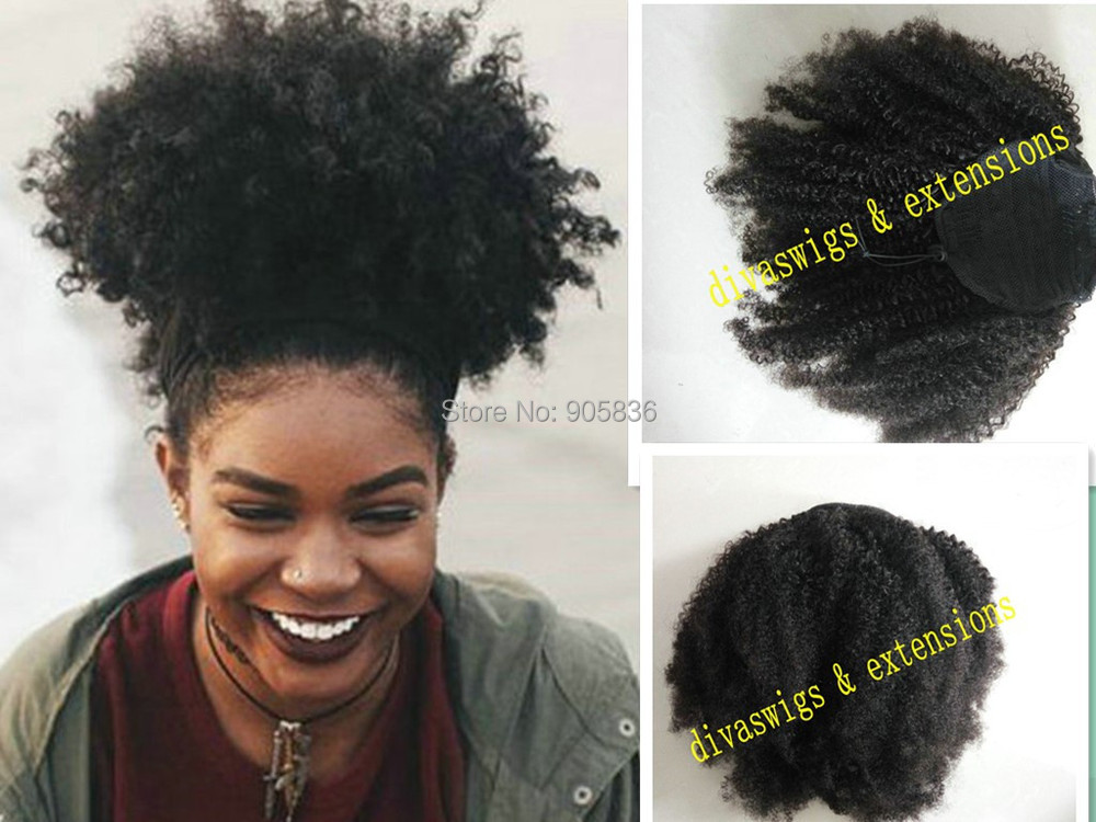160g Real Hair Big Natural Afro Puff Clip In On Kinky Curly