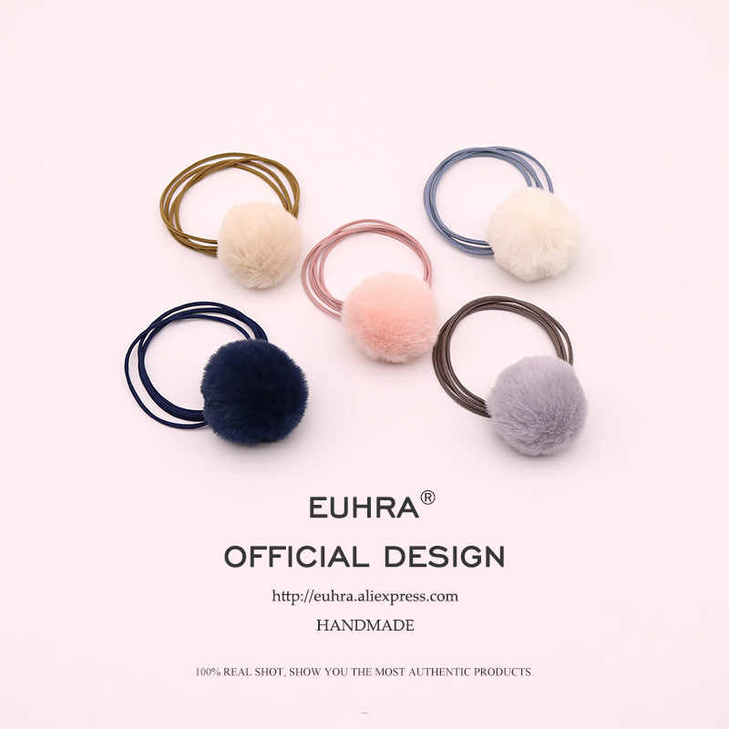 EUHRA 5 Colors Pom Pom Hairball Plush Ball Rabbit Tail Elastic Hair Bands For Women Girls Hair Band Kid Children Rubber Band