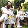 Sexy Off the Shoulder Two Piece Prom Dress 2017 Applique Beads Slit Side Evening Dresses Long Robe de Soiree Wedding Party TK01