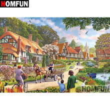 HOMFUN 5D DIY Diamond Painting Full Square/Round Drill Town scenery Embroidery Cross Stitch gift Home Decor Gift A08306 homfun 5d diy diamond painting full square round drill lake scenery embroidery cross stitch gift home decor gift a09348