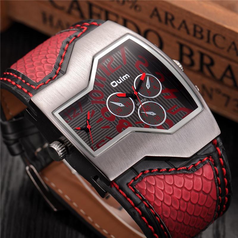 Prix pour Oulm marque quartz-montre mâle carré cadran montres militaires multiples 2 time zone mens designer montres de luxe montre