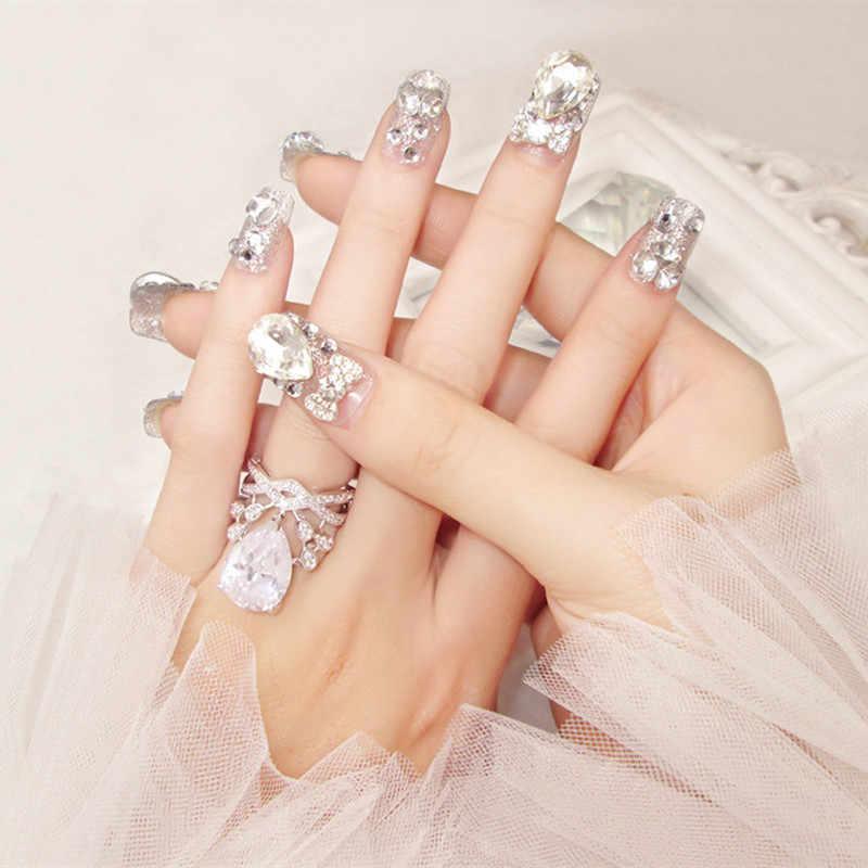 ... 24Pcs Luxe Shining Rhinestone Wedding False Nails Transparent Glitter  Gems Crown Designed Square Full Short Fake ... d917cd32b1ff