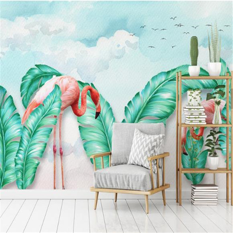 Customized Photo Wallpapers 3D Tree Forest Walls Papers Banana Leaves Murals Nordic Style for Living Room Home Decor Background 3d custom photo wallpapers brick stone wall papers for living room tv background walls murals home decor woods tree leaves mural
