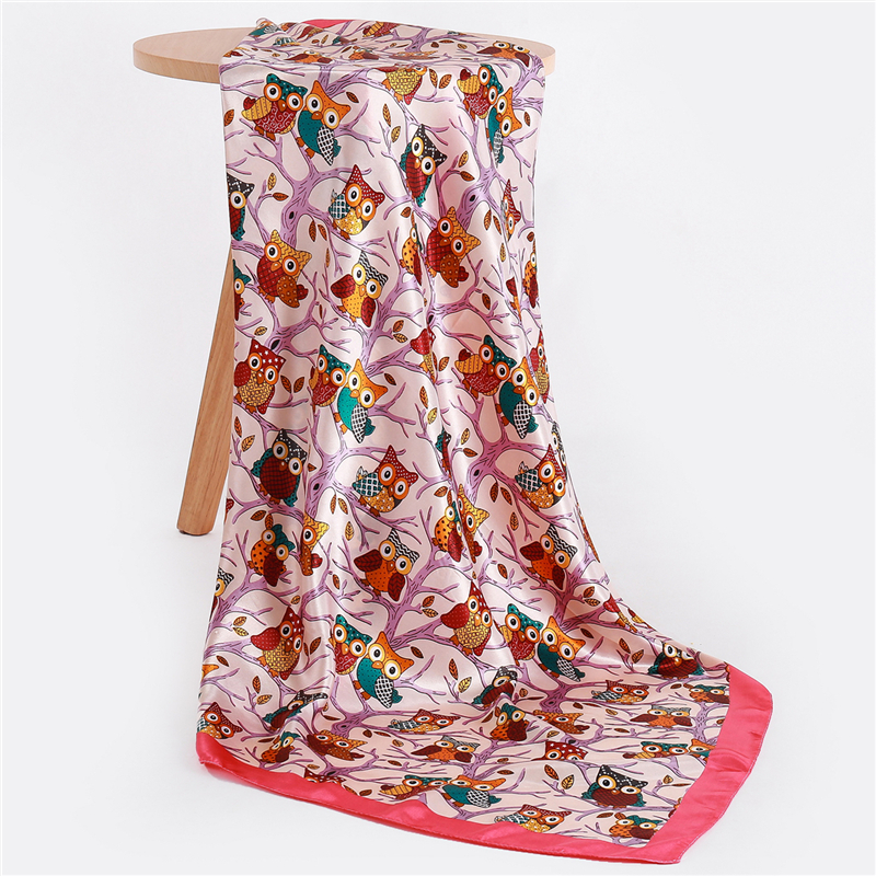 Fashion Square Scarf For Women Cute Owl Print Foulard Satin Scarves Female Large Silk Hijab Luxury Brand Pashmina Head Shawl