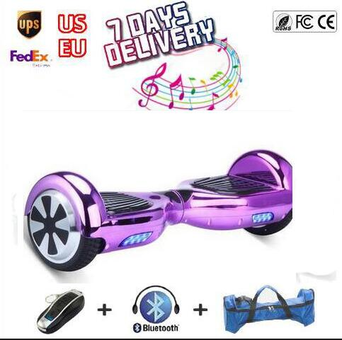 chrome font b Hoverboard b font self balancing Scooter two wheel Electric Skateboard Unicycle Bluetooth speaker