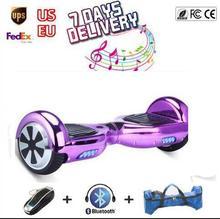 Cromo Hoverboard Patineta Scooter de dos ruedas de auto equilibrio Eléctrico Monociclo altavoz Bluetooth luz Led ul oxboard por la borda