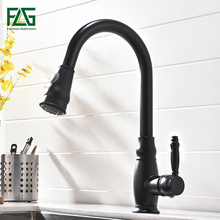 Deck Mounted Copper Brushed Pull Swivel Kitchen Faucet, Faucet Nickel Brush Water Tap Free Shipping