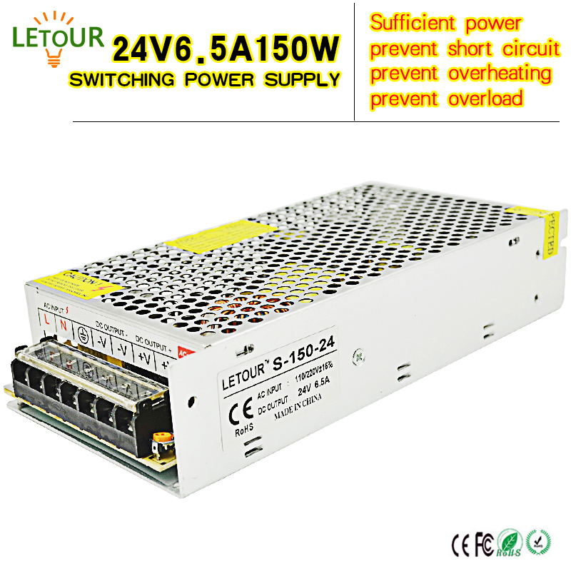 DC 24V Power Supply 6.5A Adapter AC110V-220V Transformer 24V 150W LED Driver for AC-DC Switching Power Supply Motor CE FCC Cert