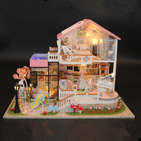 DIY 3D House With Furniture Music Light Cover Car Handcraft Miniature Model Handmade Dollhouse