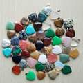Wholesale  2016 Assorted heart  natural stone charms pendants for jewelry making Good Quality 20mm 50pcs/lot  free shipping