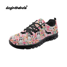 Doginthehole Husky Pattern Sneakers Women Walking Shoes Breathable Mesh Chaussure Female Outdoor Sports Athletic Footwear