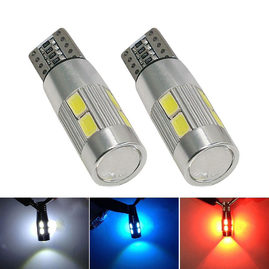 2PCS T10 10 SMD 5730 DC12V Decode Canbus LED Projector Lens Car Parking Lights W5W 194 AUTO Clearance Light Reading Dome Lamp