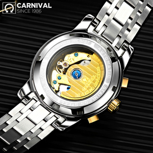 Image 2 - CARNIVAL 2019 Business Watch Men Automatic Luminous clock Men Waterproof Mechanical Watch Top Brand Moon phase relogio masculino