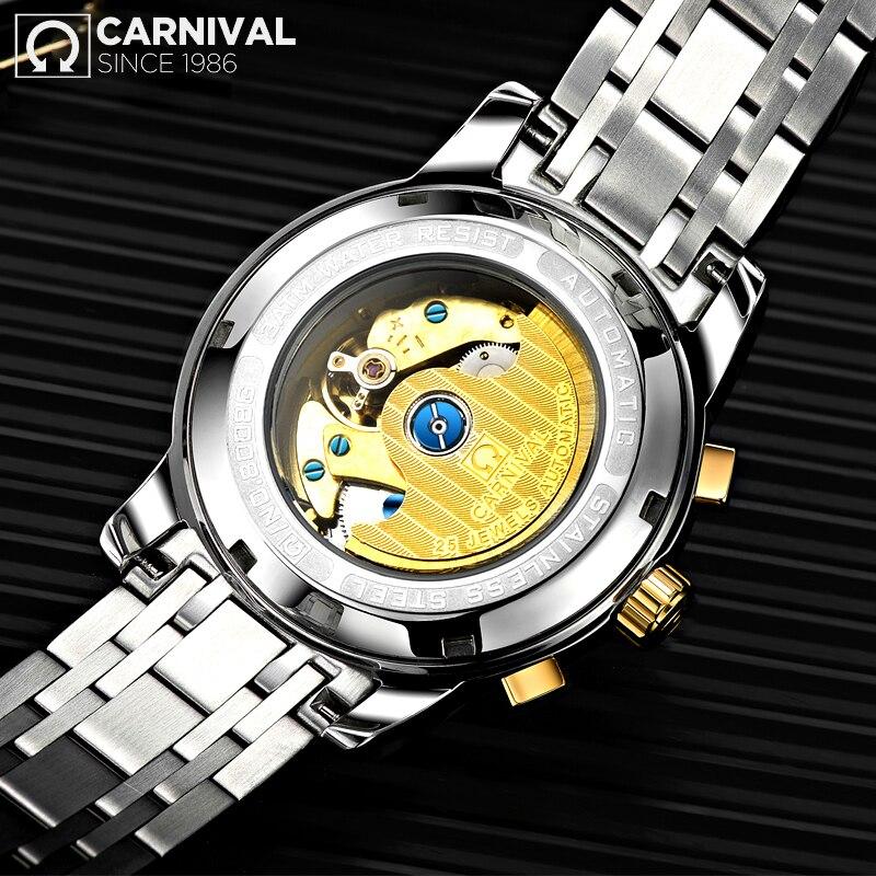 Reloj de negocios carnaval 2019 reloj luminoso automático para hombre reloj mecánico resistente al agua-in Relojes mecánicos from Relojes de pulsera    2