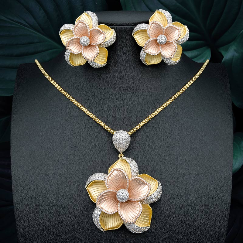 ModemAngel 3 Tone Copper Large Flower Pendant Necklace And Earring for Women Wedding Party Jewelry Sets