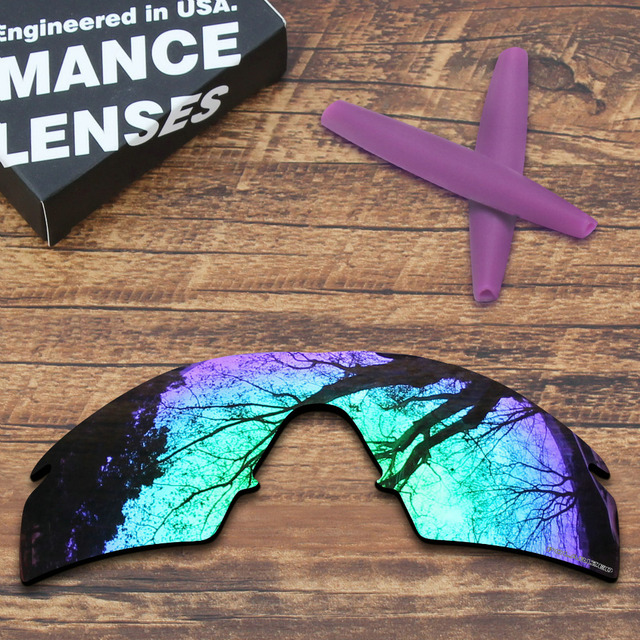 9eab7466d8 ToughAsNails Resist Seawater Corrosion Green Polarized Replacement Lenses  and Purple Ear Socks for Oakley M Frame
