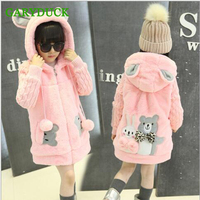 Brand Warm Baby Girls Coat Cartoon Style Girls Fashion Outerwear Baby Girl Clothes Hooded Jacket 2017