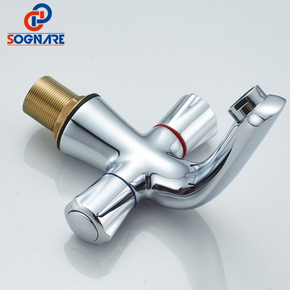 SOGNARE Dual Hangles Bathroom Basin Sink Faucet Single Handle Brass ...