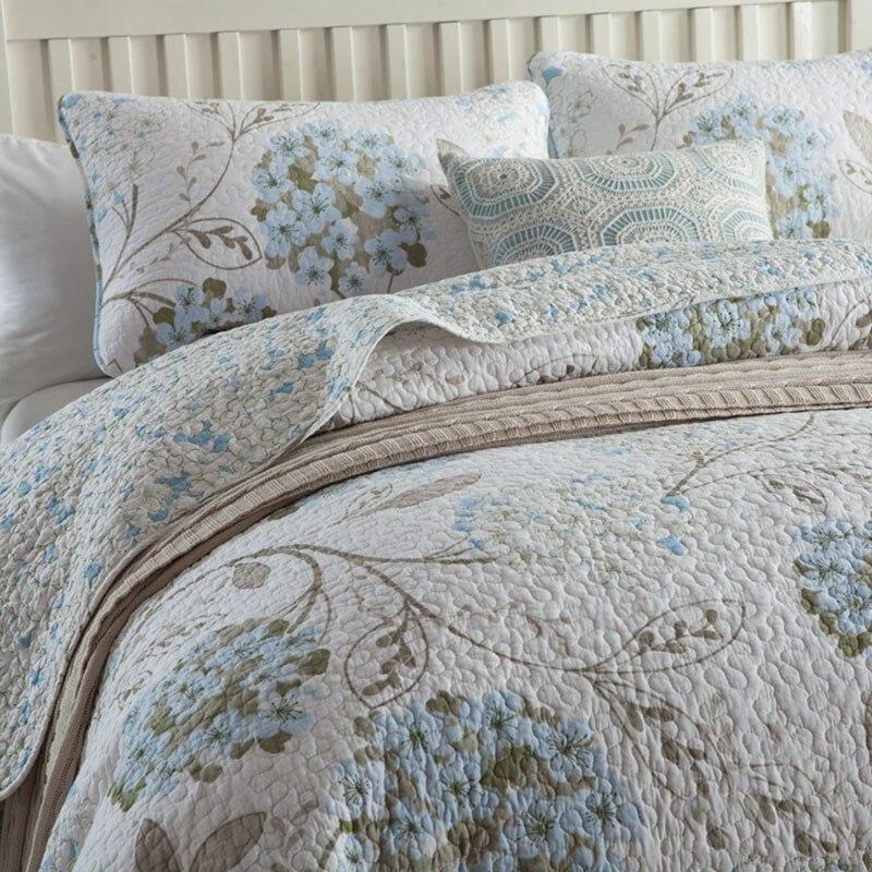 Kwaliteit Gedrukt Sprei Dekbed Set 3 st Gewatteerde Beddengoed Katoen Quilts Bed Covers Kussensloop King Queen Size Dekbedden Deken-in Quilts van Huis & Tuin op  Groep 2