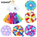 VIDMID rainbow New 2017Colors Vintage dusty pink/Silver  Baby Girl Fluffy Pettiskirt Girls Tutu Skirt Kids Petticoat 1060 01