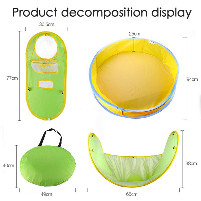 Portable Baby Swimming Pool Foldable Ball Pool Tent Sunshelter Dry Wet Dual-use Children Small House Toy Play Water Outdoor Bath