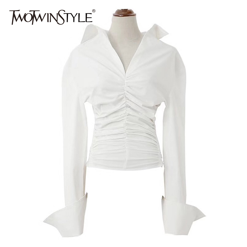 TWOTWINSTYLE Ruched Shirt For Women V Neck Long Sleeve High Waist Slim White Blouse 2018 Spring Female Fashion Pullover Tops