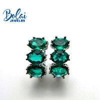 Bolai 3 stone nano emerald stud earrings 925 sterling silver gemstone fine jewelry ear hoop for women wedding timeless style