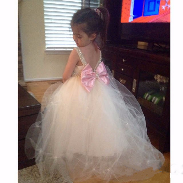 White Ivory pleated flower girl dresses with crystals lovely backless tulle ball gowns for wedding occasion baby birthday gown